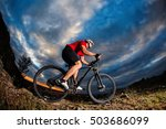 wide angle view of a cyclist... | Shutterstock . vector #503686099