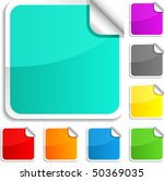 set of square glossy stickers. | Shutterstock .eps vector #50369035