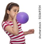 Girl Blowing A Balloon Isolated ...