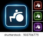 exercise ball stretching on... | Shutterstock .eps vector #503706775