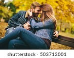 loving and romantic couple on a ... | Shutterstock . vector #503712001