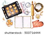 baking cookies. watercolor... | Shutterstock . vector #503716444