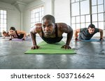 athletic workout with muscular... | Shutterstock . vector #503716624