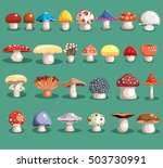 Mushrooms Set. Different...