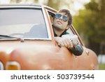 handsome male model posing in... | Shutterstock . vector #503739544