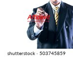 Small photo of Businessman hand writing Affidavit on a transparent wipe board.