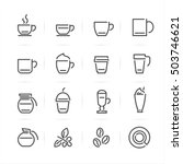 Stock vector coffee icons with white background 503746621