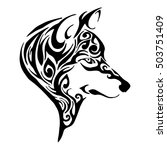 wolf head tribal tattoo sketch... | Shutterstock .eps vector #503751409