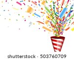 exploding party popper with... | Shutterstock .eps vector #503760709