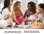 group of females excited...   Shutterstock . vector #503764351