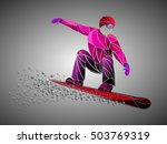 red stylized snowboarder | Shutterstock .eps vector #503769319