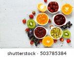 assorted berries and fruit jams.... | Shutterstock . vector #503785384