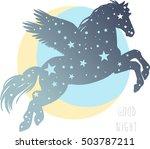 silhouette of flying pegasus.... | Shutterstock .eps vector #503787211