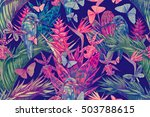 tropical flowers  palm leaves ... | Shutterstock . vector #503788615