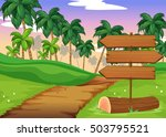 scene with wooden signs in the... | Shutterstock .eps vector #503795521