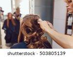 hair stylist makes the bride... | Shutterstock . vector #503805139