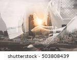 double exposure business team... | Shutterstock . vector #503808439