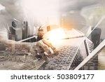 double exposure outsource... | Shutterstock . vector #503809177