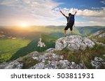tourist in mountain. emotional...   Shutterstock . vector #503811931