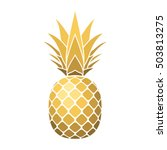 Pineapple Gold Icon. Tropical...