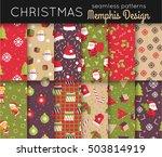 set of christmas seamless... | Shutterstock .eps vector #503814919