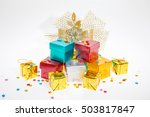 many colorful gift boxes on...   Shutterstock . vector #503817847
