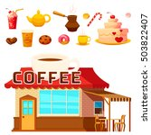 isolated coffee shop house...   Shutterstock .eps vector #503822407