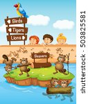 children looking at beavers in... | Shutterstock .eps vector #503825581
