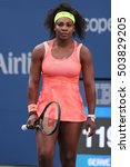 Small photo of NEW YORK - SEPTEMBER 6, 2015: Twenty one times Grand Slam champion Serena Williams in action during her round four match at US Open 2015 at National Tennis Center in New York