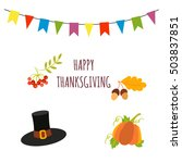 happy thanksgiving vector card... | Shutterstock .eps vector #503837851