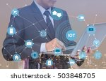 double exposure of businessman... | Shutterstock . vector #503848705