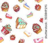 cake and pie seamless pattern
