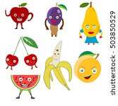 cartoon fruits  funny fruit.... | Shutterstock .eps vector #503850529