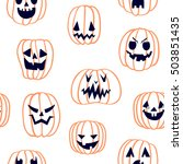 hand drawn halloween seamless... | Shutterstock .eps vector #503851435