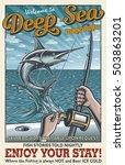 vintage deep sea fishing poster ...   Shutterstock .eps vector #503863201