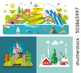 set of different landscapes in... | Shutterstock .eps vector #503865997
