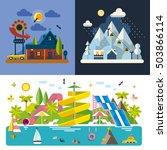 set of different landscapes in... | Shutterstock .eps vector #503866114