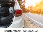 distressed woman and broken car ... | Shutterstock . vector #503866861