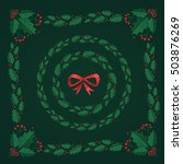 christmas wreaths and square... | Shutterstock .eps vector #503876269