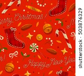christmas seamless pattern with ... | Shutterstock .eps vector #503876329