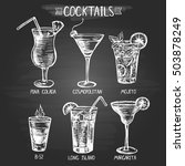 set of hand drawn alcohol... | Shutterstock .eps vector #503878249