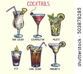 set of hand drawn alcohol... | Shutterstock .eps vector #503878285