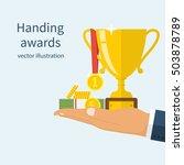 handing awards concept. man... | Shutterstock .eps vector #503878789