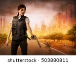 brave woman with vest find the...   Shutterstock . vector #503880811