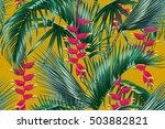 tropical flowers  palm leaves ... | Shutterstock .eps vector #503882821