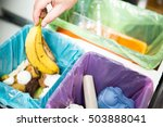 woman putting banana peel in... | Shutterstock . vector #503888041