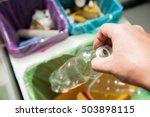 man putting empty plastic... | Shutterstock . vector #503898115