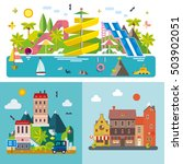 set of different landscapes in... | Shutterstock .eps vector #503902051