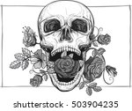 Screaming Skull With Rose...