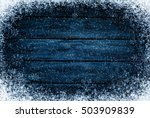 Wooden Winter Background. Blue...